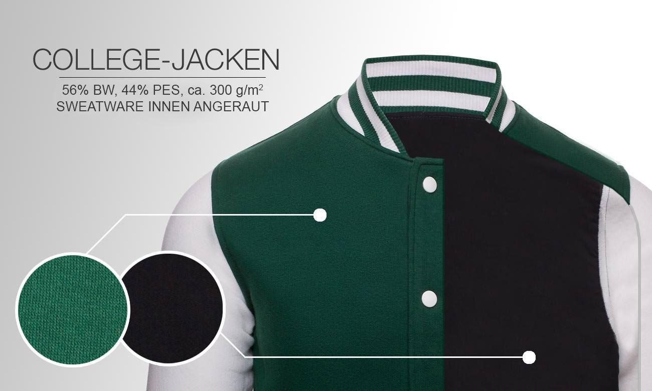 08b2a11cbe517 College Jacken bedrucken   besticken - mit ihrem individuellen Motiv