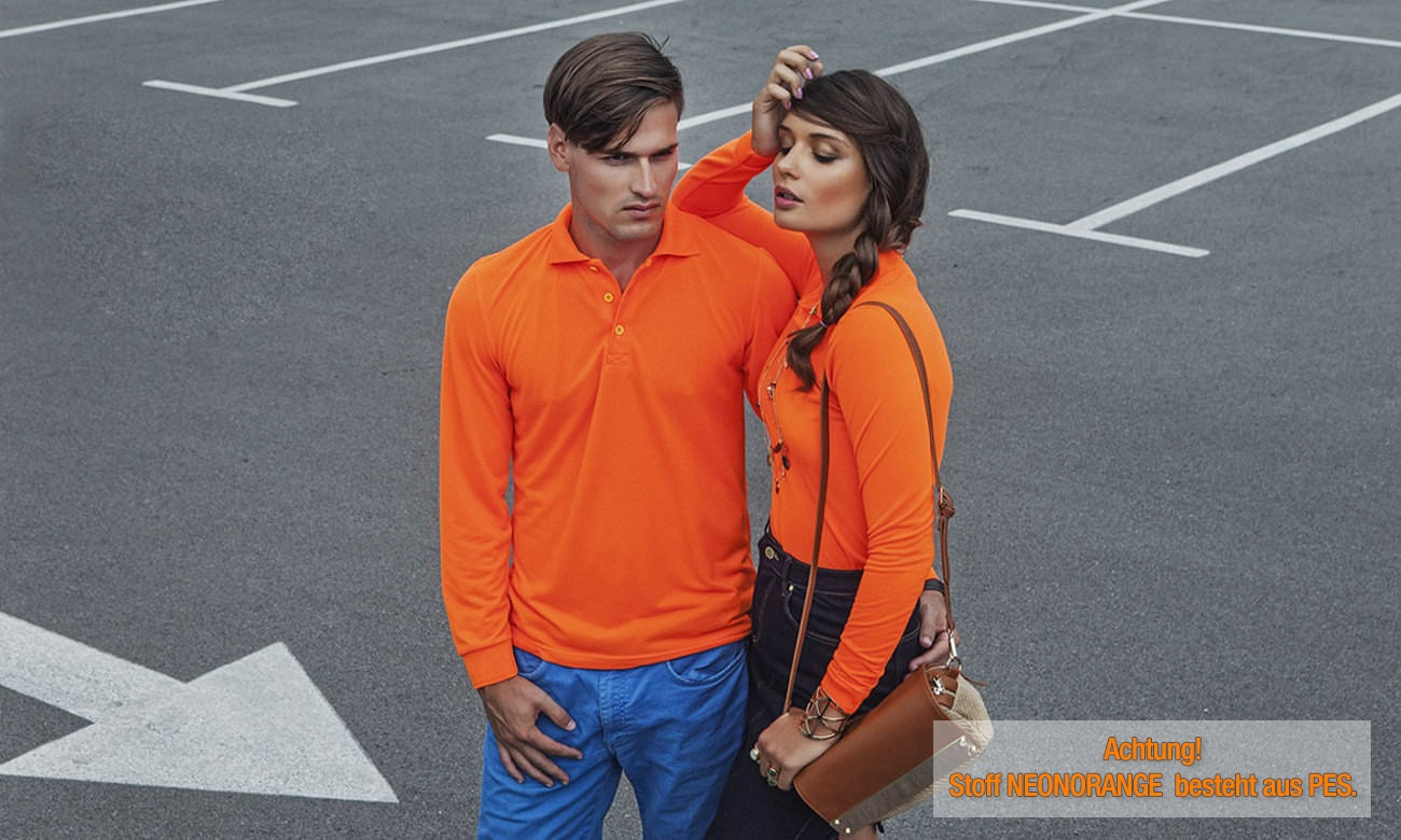 Poloshirts Standard Langarm ST-201-LA Neon Orange Fashion