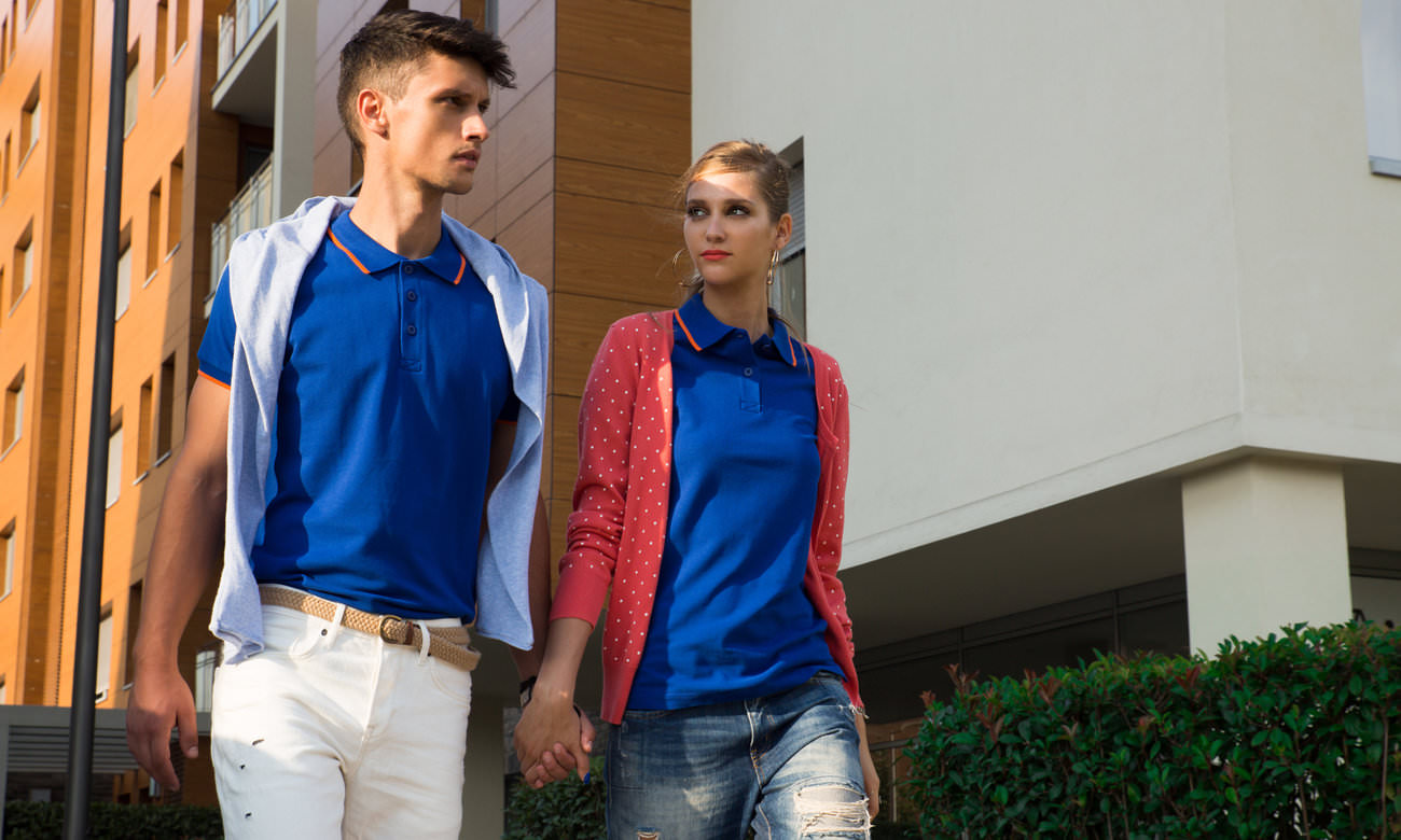 Poloshirts ST-203 Royalblau-Orange Fashion