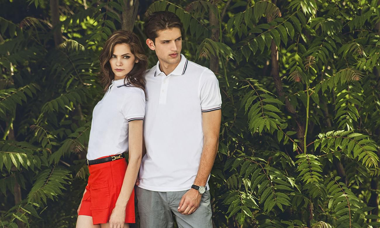 Poloshirts ST-207 Weiss-Bordeaux-Dunkelblau Fashion
