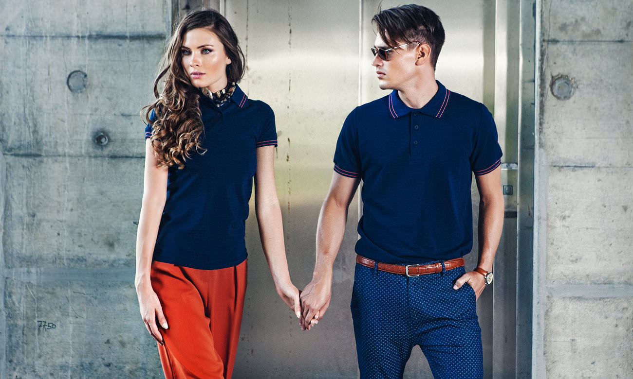 Poloshirts ST-208 Dunkelblau-Sunset Rot Fashion