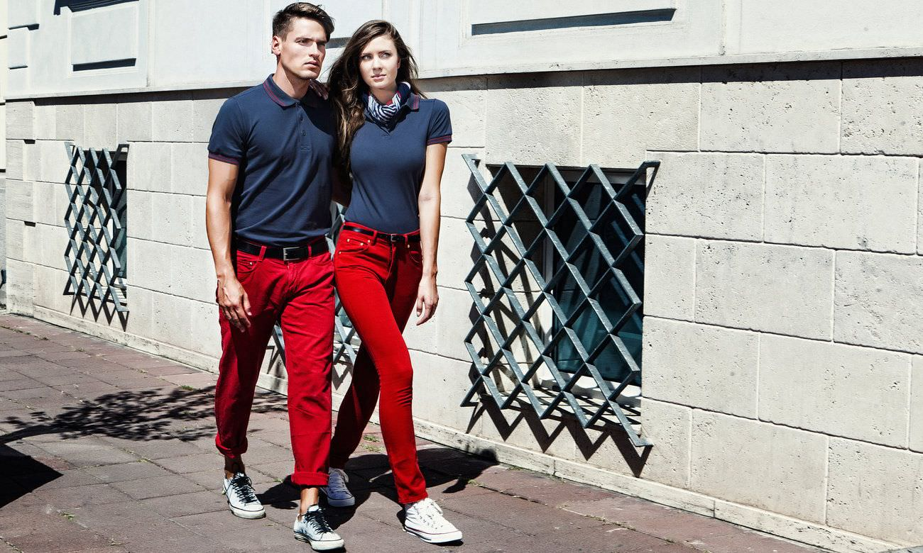 Poloshirts ST-208 Mousegray-Rot Fashion