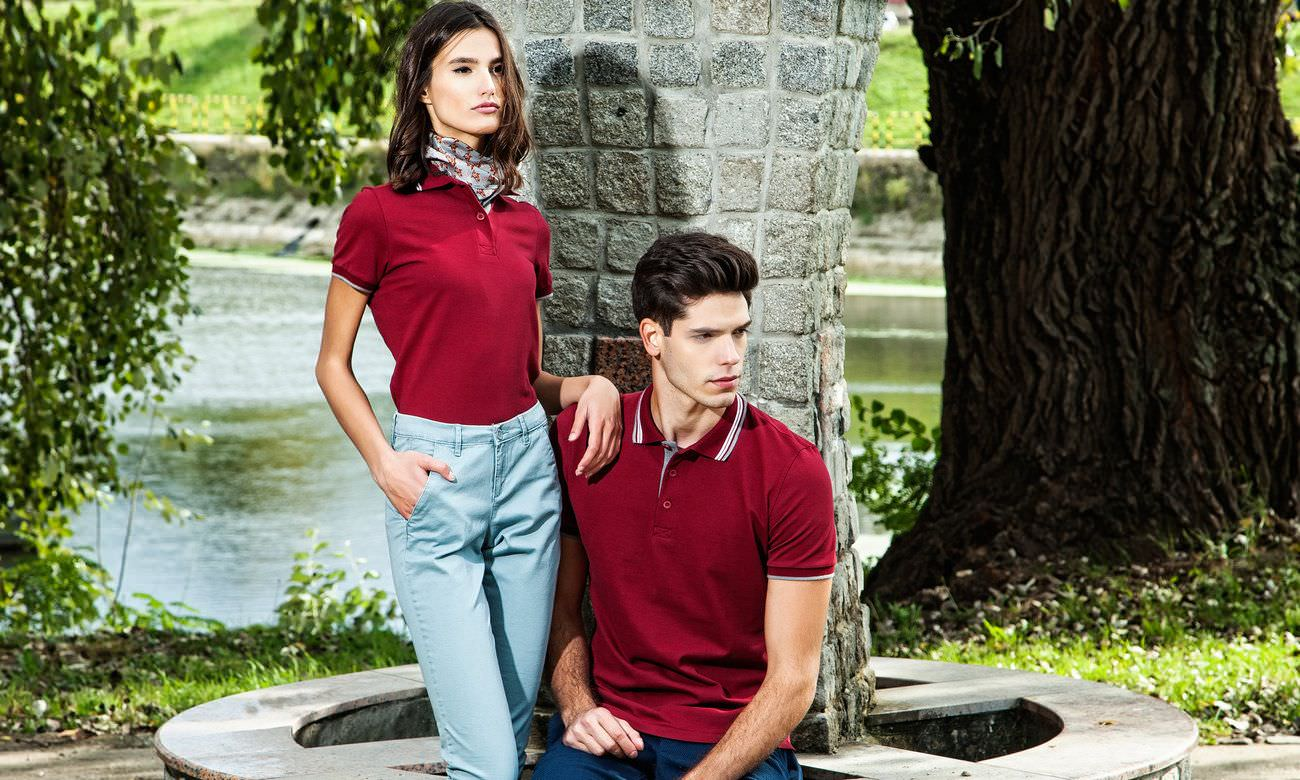 Poloshirts ST-212 Bordeaux-Anthrazit Fashion