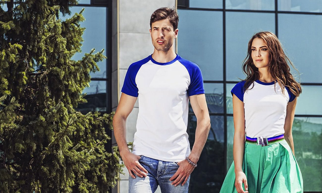 Raglan-Shirts ST-110 Weiss-Royalblau Fashion
